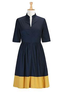 With a belt or a bit longer for dress   #eshakti navy and ochre yellow colorblock zip front shirtdress