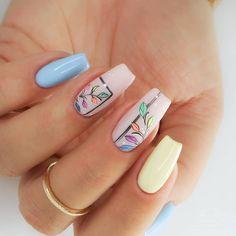 nail art designs for spring * nail art designs . nail art designs for spring . nail art designs for spring 2020 . nail art designs with glitter Almond Acrylic Nails, Cute Acrylic Nails, Cute Nails, Gel Nails, Manicures, Coffin Nails, Spring Nail Art, Spring Nails, Summer Nails