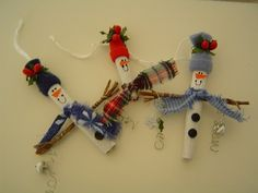 Primitive Christmas Ornaments Cinnamon Sticks   Cinnamon Stick Snowmen