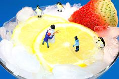 Making Snowman On Icy Drink Little People On Food, amazing food art, miniature art, home decor, gift choice, creative photography, by Paul Ge.