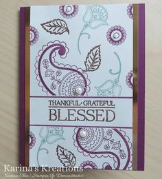 Karina's Kreations: Stampin'Up Paisleys and Posies Technique card!
