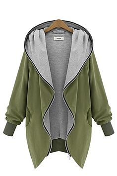 Army Green Long Sleeves Loose Outerwear