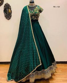 Green designer embroidered wedding lehenga choli - Fabric :tapeta satin silk lehnga with zari embroidery work ( meter flair )tapeta satin Blouse with zari embroidery work ( unstich )moss Georget duppata with 4 side border workIN LEHENGA ( SEMI Indian Fashion Dresses, Indian Bridal Outfits, Indian Gowns Dresses, Dress Indian Style, Indian Designer Outfits, Indian Wear, Fashion Outfits, Designer Bridal Lehenga, Lengha Choli Designer