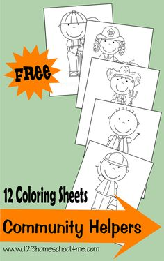 {FREE} Coloring Sheets of 12 different community helpers. Great for social studies expanding horizons / community helper lesson #homeschool