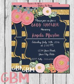 Baby Shower Invitation! Navy. Gold, and Pink/Coral! Digital, Print Yourself! Floral, Glitter! Beautiful Design! 5x7