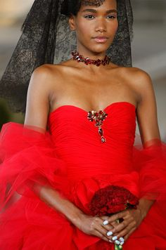 Red on Red wedding gown from Oscar de la Renta, Spring 2013.