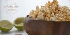 "Kick your popcorn up a notch and ""wow"" your tastebuds by seasoning it with sriracha, lime and a dash of freshly ground sea salt. Gluten Free Recipes, Baking Recipes, Real Food Recipes, Snack Recipes, Study Snacks, Popcorn Seasoning, Popcorn Recipes, Clean Eating, Lime"