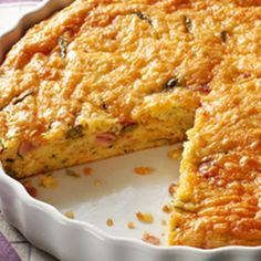 Crustless Vegetable & Ham Quiche