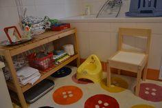 Potty training. Corner in bathroom - montessori. Učení na nočník.