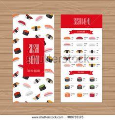 Sushi menu design. Leaflet and flyer layout template. Japanese food restaurant brochure with modern graphic. Vector illustration.