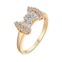 * Penny Deals * - YAZILIND Princess Bow Knot Style Ring White Crystal Rhine New Time 18K Gold Plated Wedding Gift Size 9 *** Read more at the image link.