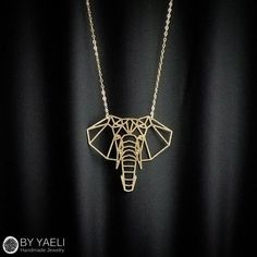 Elephant necklace, animal necklace, geometric necklace, gold necklace,... ($48)