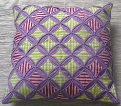 Aug 10 - Cushion Cover - Cathedral Windows Patchwork by craft is me, via Flickr