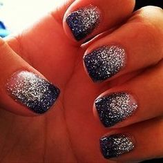 Prom Nails: 15 Ideas For Your Perfect Manicure Starry ombré type nails. Navy blue with silver glitter. :)<br> On the hunt for your perfect prom nails? We've got you covered. Love Nails, How To Do Nails, Fun Nails, Pretty Nails, Diy Prom Nails, Sexy Nails, Homecoming Nails, Dark Nail Polish, Dark Nails