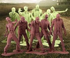 Complete your zombie apocalypse diorama with these disturbing plastic zombie men toys. Inspired by The Walking Dead zombie show and comic book, these Army Men toy like figurines come with ten zombies per bag - five brown and five green. Buy It $13.99 via GentleGiant[..]