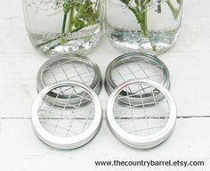 Mason Jar Flower Frog LIDS - Set of 4 - Upcycled DIY Flower Arrangers or Potpourri Lids - Wedding Bouquet or Centerpiece, Woodland, Shabby