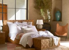 "Ralph Lauren Home Archives, ""Corral Canyon"", Bedroom, Spring 2015; ""Organic materials, modern architectural shapes and southwestern-inspired textiles define this richly serene collection"""