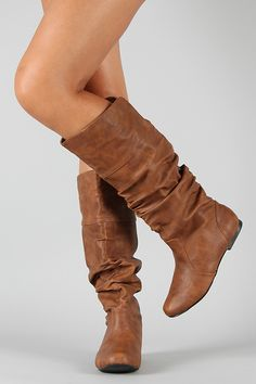 Qupid Neo-144 Leatherette Slouchy Knee High Boot urbanog.com