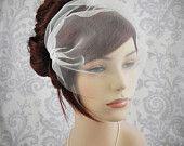 """Wedding Veil - Bridal Veil, Birdcage Veil ivory, Tulle Birdcage Veil, Blusher Veil, ivory, white, off-white, champagne, blush, 11"""". $35.00, via Etsy."""