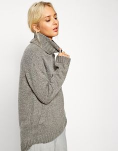 ASOS WHITE Roll Neck Sweater with Front Pocket Detail