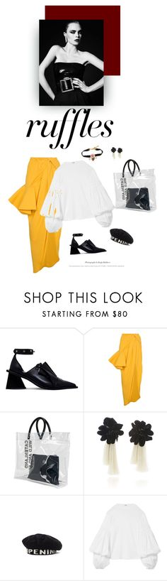 """""""the only thing i throwback on a thursdays is a glass of wine"""" by iriadna ❤ liked on Polyvore featuring Marques'Almeida, Jacquemus, Dsquared2, Johanna Ortiz, Opening Ceremony, Dolce&Gabbana, Yves Saint Laurent, ruffles and RuffLyfe"""