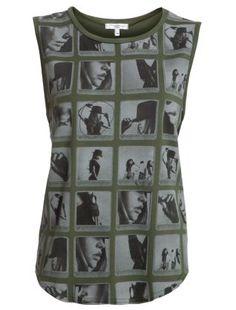 Khaki (Green) Khaki Green Polaroid Sleeveless T-Shirt | 261057434 | New Look
