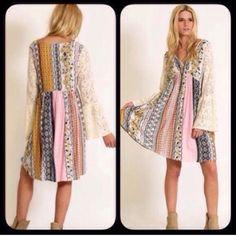 S-Xxxl Pink/Mustard Boho Peasant Lace Dress
