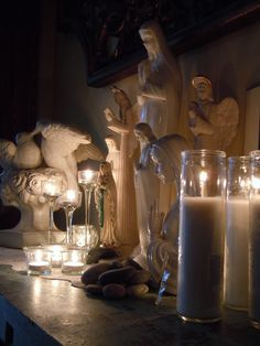 Home altar. Saints and candles. Ideas for creating a sacred space at home. Catholic, Christian, prayer, spirituality.
