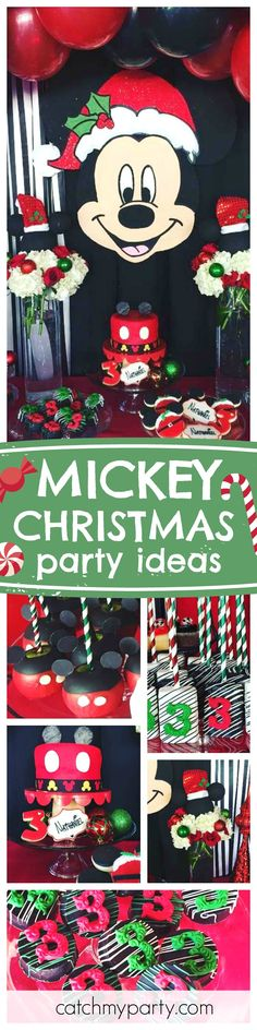 Check out this awesome Mickey Christmas party! The dessert table is so cute!! Love the treats! See more party ideas and share yours at CatchMyParty.com
