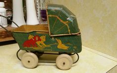 Vintage Tin Metal Baby Doll Buggy Carriage by Wyandotte 1930's Antique #Wyandotte