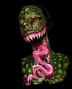 Venom Inspired 3 Dimensional Face Paint by Yours Truly - Facepainting Alien Face Paint, Halloween Makeup, Halloween Face, Venom Face, Alien Concept, Character Makeup, Makeup Class, Creative Makeup, Alien Logo