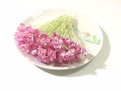50 Mini Light Pink Gypso Gypsophila Mulberry Paper Flower Wedding Card Scrapbook #Handmade