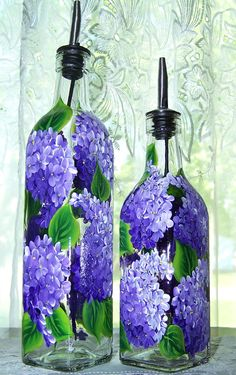 Oil Dispenser with Hand Painted Lilacs Small by BonnysBoutique