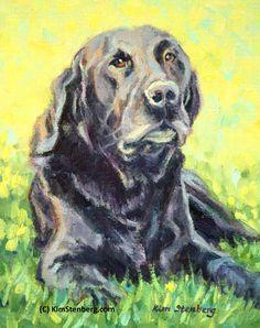 Black Lab Retriever Custom Pet Portrait Dog Painting Original Oil Painting by KimStenbergFineArt