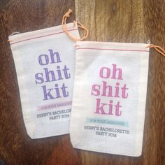 Celebrate your bachelorette in style with these adorable, customized muslin bags. Fill to the brim with hangover kit needs, decor & party goods