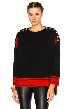 Image 1 of Alexander McQueen Oversized Sweater in Black & Red