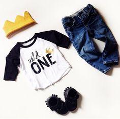 Wild One tee- Child t-shirt - tee - raglan - toddler, baby, infant - American Apparel