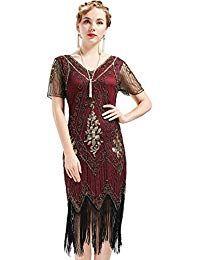 bee58529 ArtiDeco 1920s Flapper Fringed Sequin Dress Roaring 20s Fancy Dress Gatsby  Costume Dress V Neck Vintage Beaded Evening Dress