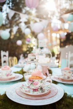 Place Setting from a Shabby Chic Alice In Wonderland Birthday Party via Kara's Party Ideas KarasPartyIdeas.com (47)