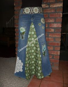 Beautiful Denim Upcycled Hippie Gypsy Ethnic Patchwork Beaded Maxi ...