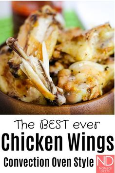 , Who says you need to fry chicken wings? This recipe uses the convection oven setting to speed up coking time and make the skin crispy! Kids and adults. Healthy Pasta Recipes, Healthy Pastas, Clean Eating Recipes, Paleo Recipes, Steak Recipes, Ham Recipes, Spinach Recipes, Asparagus Recipe, Shrimp Recipes