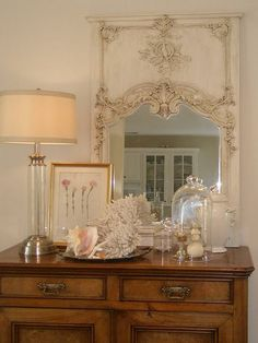 Sideboard and mirror and shells