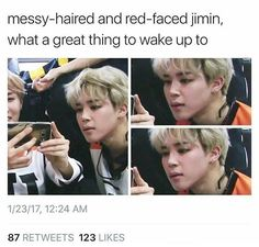 I WISH I COULD WAKE UP TO ANY KIND/TYPE OF JIMIN HUNNI *CRIES LOUDLY and gets back to watching more Bangtan Bombs lmao )