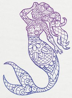 Inspired by traditional Indian henna, this graceful mermaid takes shape with intricate, ombre detail. Stitch onto T-shirts, accessories, and more!
