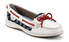 Red, white and blue #anchor print #sperrys #america #USA