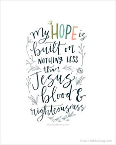 Hymn hand lettered Scripture art @bluechairblessing http://www.bluechairblessing.com