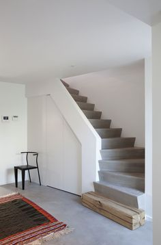 Love the mix of concrete stairs,steel rail, wood and stone - Stairs And Doors, House Stairs, Tiny House Layout, House Layouts, India Home Decor, Home Stairs Design, Escalier Design, Model House Plan, Concrete Stairs