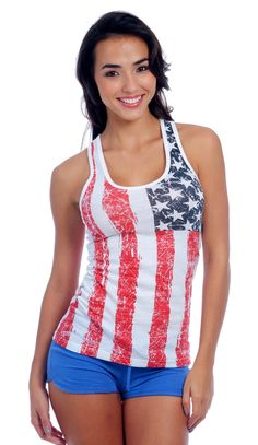 Same great tank top cut as our famous style 102 tank top. We went patriotic with this USA Flag racer back tank. Using our combed cotton blend with 60% and 40% polyester. Another great fitted tank top from us to you.  #tanktop #patriotic #4thofjuly