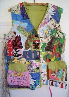 Green Organic Garden Wearable Fabric Collage Folk Art by MyBonny