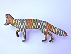 Wooden Fox Brooch Woodland Chevron by EachToOwn on Etsy, $18.00